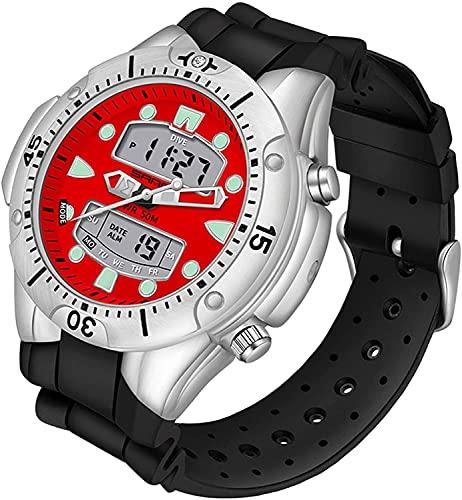 QHG Reloj Deportivo de Lujo para Hombres Reloj de Cuarzo Estilo Casual Relojes Militares a Prueba de Agua Reloj Reloj Reloj de Pulsera (Color : Blackred)