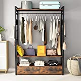 Tribesigns Frees-Standing Closet Organizer with Fabric Drawers and Hooks,Large Clothes Closet with Shelves and Hanging Rod, Rustic Garment Rack Clothing Shelf Closet System for Bedroom