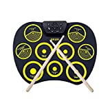 Electronic drum Set Digital Roll-Up MIDI Drum Kit 9 Silicon Durm Pad Built-in Stereo Speaker with 2 Foot Pedal, for Kids Beginners