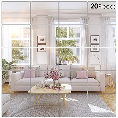 BBTO 20 Pieces Mirror Sheets Self Adhesive Non Glass Mirror Tiles Wall -