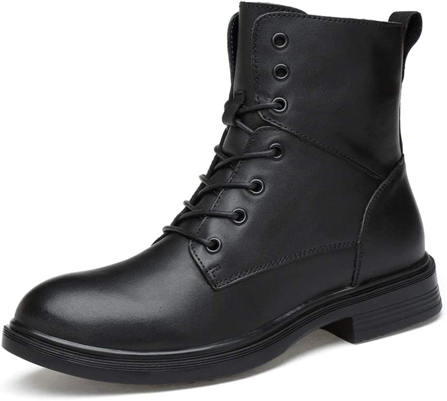 HONGkeke Men's Winter Ankle Military Boots for Men Casual Lace-up Work Combat Boot Oxford Shoes Genuine Leather Antislip Rubber Outsole Durable Fashion (Color : Black, Size : 7.5 M US)