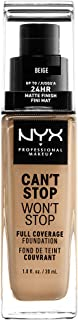 NYX PROFESSIONAL MAKEUP Can't Stop Won't Stop Full Coverage Foundation - Beige, Medium With Yellow Undertone