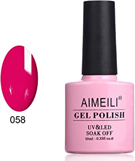 AIMEILI Soak Off UV LED Gel Nail Polish - Neon Cranberry (058) 10ml