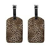 Bettken Animal Leopard Skin PU Leather Luggage Tags Suitcase Labels Travel ID Identifier Baggage Tag(2 Pack)