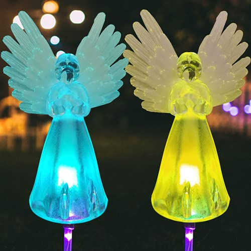 Solar Angel Lights Outdoor Decorative - Family LED Discoloration Lantern Garden Courtyard Lawn Housewarming Gift Grave Cemetery Decorations Path Lights 2pcs