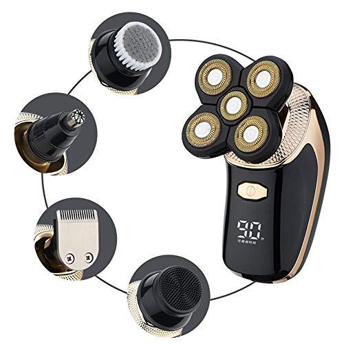 Maquinilla de afeitar eléctrica para hombres, nuevo 5 en 1 IPX6 impermeable 5D Rotary Shaver Trimmer Grooming Kit con pantalla LED, afeitadora USB recargable de cabeza calva con 5 cabezales flotantes