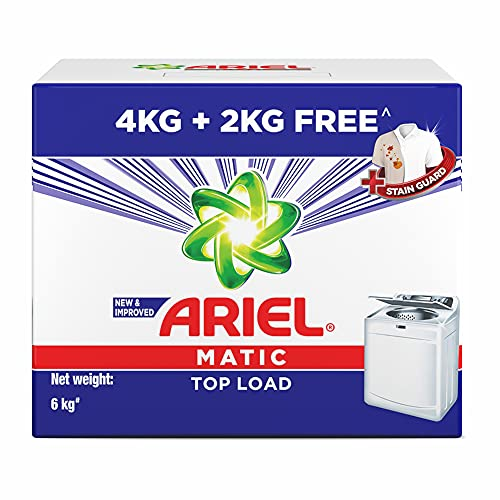Ariel Matic Top Load Detergent Washing Powder – 4 kg with Free Detergent Powder – 2 kg