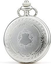 SEWOR Vintage Elegant Carving Pocket Watch Mechanical Hand Wind (Silver)