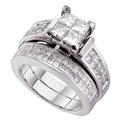14k White Gold Princess Diamond Engagement Ring Wedding Band Bridal Set Cluster Illusion Style 2-1/2 ctw Size 8
