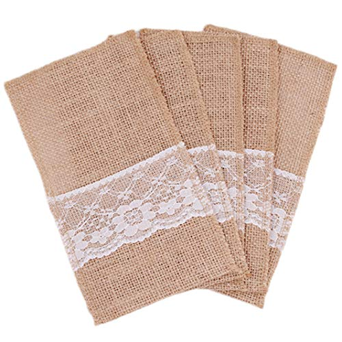 YouCY 5Pcs Natural Burlap Lace Silverware Napkin Holder Knife Fork Cutlery Pouch Tableware Utensils Bag Party Christmas Decorations Cutlery Bag