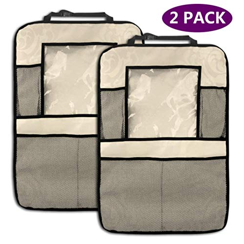 2 Pack Car Backseat Organizer Beige Floral Elements Car Storage Rack Bag with Storage Pockets for Toy Bottle Book Drink Universal Fit Travel Accessories for Kid