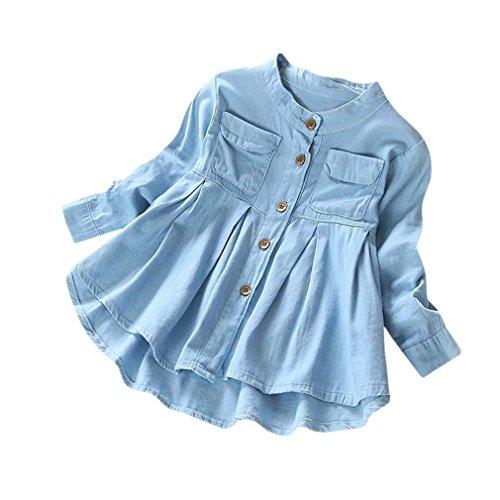 UOMOGO Bambina Blusa Ragazze Vestito Tinta Unita Maniche Lunghe Pulsanti Camicia di Jeans Tenere Caldo Cappotto Denim T-Shirt 3-8 Anni (età: 4 Anni, Blu)