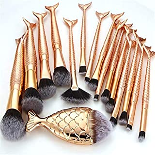 Zmond - 16PCS Golden Mermaid Makeup Brushes Set Foundation Blending Powder Eyeshadow Contour Concealer Blush Cosmetic Beau...