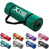 Xn8 Esterilla Yoga gruesa de 15 mm acolchada de con tiras - colchoneta de Yoga para Entrenamiento físico aerobic pilates o gimnasio (VERDE)