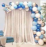 AivaToba Ballon Girlande Ballonbogen Kit 5m Lange 100 Stück Luftballons Blau Weiß und Silber Set für Junge Baby Geburtstag Party Hintergrund Deko
