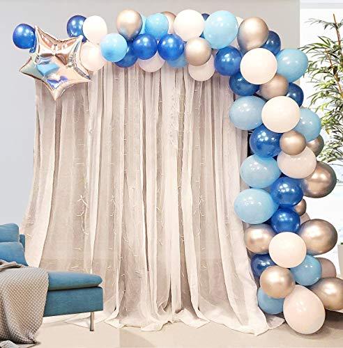 Globos Azules Blanco y Plateado Arch AivaToba 16 pies de Largo 100 piezas Kit de Guirnalda de Globos Arco para Decoraciones de Bautizo Comunion Baby Shower de Fiesta de Cumpleaños para Niños