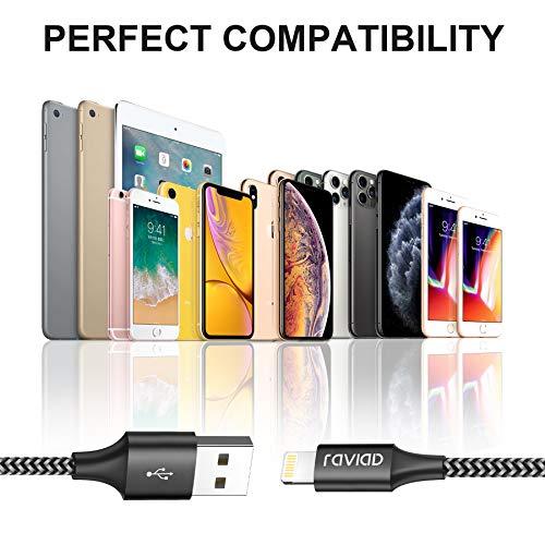 iPhone Ladekabel, Lightning Kabel [3Pack 2M] Nylon iPhone Kabel Ladekabel für iPhone 11/11 Pro/XS/XS Max/XR/X/8/8 Plus/7/7 Plus/6s/6/6 Plus/5S/5/SE, iPad Mini/Air/Pro - Schwarz