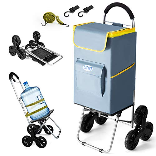UHO Shopping Cart 18.89 inches X 18.11inches X 44.09 inches,Foldable Grocery Cart, Stair Climber Cart Includes Large Shopping Bag, Adjustable Bungee Cord,2 Hooks