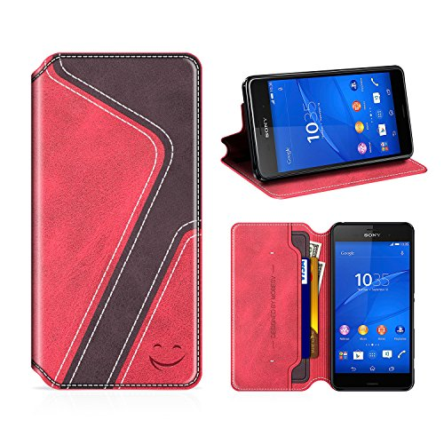 MOBESV Smiley Sony Xperia Z3 Hülle Leder, Sony Xperia Z3 Tasche Lederhülle/Wallet Hülle/Ledertasche Handyhülle/Schutzhülle mit Kartenfach für Sony Xperia Z3, Rot/Dunkel Violett