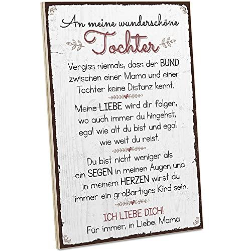 ARTFAVES® Holzschild mit Spruch - Mutter & Tochter/Vintage Deko Shabby Chic/Holzbild als Geschenk für Frauen & Männer