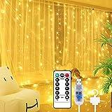 OUTAD Cortina de Luces,Luces de Cadena de Cortina 3Mx3M300LED, Luz de Cortina USB con Control Remoto 8 Modos de Cortina Luces,Decoración de Cortina Impermeable, Navidad, Fiestas, Bodas, Jardín