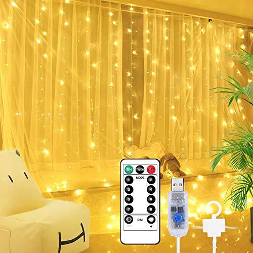 Lichtervorhang, 3M * 3M 300 LEDs Lichterketten Vorhang USB Wasserfall Lichterkette 8 Modi mit Fernbedien Wasserfest Wand Lichter Vorhänge Innen für Party, Schlafzimmer Dekoration Warmweiß