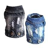 SILD Vestiti per animali domestici Giacca Jeans Blu Cool Denim Cappotto Piccolo e Medio Cani Bavero Gilet Classico Cucciolo Blu Vintage Vestiti Lavati (XL, Blu+Nero)