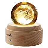 wooden music box,3d crystal ball music box moon light luminous rotating musical box with projection