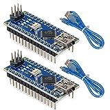 MakerHawk 2 pièces Nano V3.0 ATmega328P carte microcontrôleur Nano Module CH340G puce 5 V 16 MHz avec 2 pièces câble USB 245 mm pour Arduino