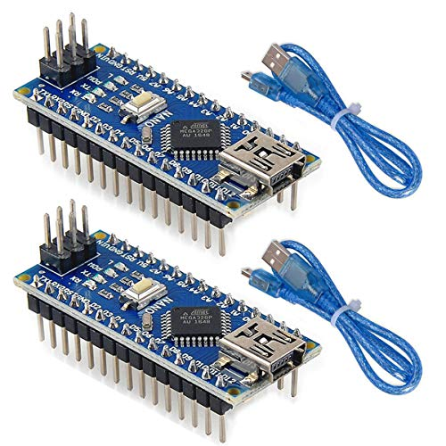 MakerHawk 2pcs Nano V3.0,ATmega328P Microcontroller Board,Nano Board CH340G Chip 5V 16MHz with 2pcs 245mm USB Cable, Compatible with Arduino Nano V3.0 for Arduino