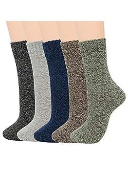 Century Star Mens Warm Thick Socks Cozy Wool Sock Winter Athletic Socks Retro Cashmere Sock Crew Socks 5 Pairs Mixed One Size