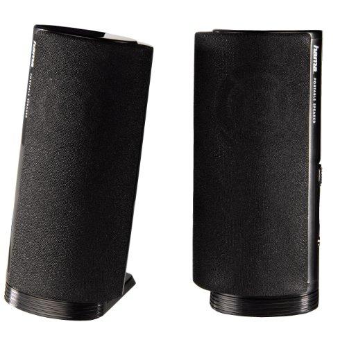 Hama Multimedia luidspreker E 80 (PC luidspreker met 3,5 mm jack, USB, 2,5 W, actieve boxen voor computer, laptop, notebook, smartphone, tablet) zwart