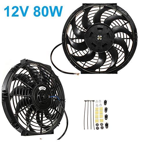 Maso Universal Kühlerlüfter-Ventilator, 30,5 cm, 12 V, 80 W, elektrischer Ladeluftkühler-Ventilator, Kfz-Motorlüfter + Montage-Kit (schwarz)