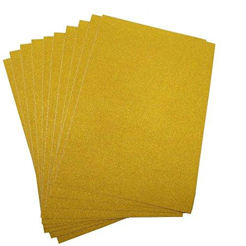 10 Blatt Klebefolie Glitzer Selbstklebende Dekofolie A4 Farbige Bastelfolie Glitter Vinyl Aufkleber für DIY Handwerk Scrapbooking Gelb