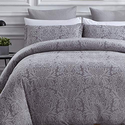 David's Home Paisley Damask Duvet Cover Set Queen Size, Pure Cotton 3PCS Bedding Set, Soft and Breathable Comforter Cover Set for All Seasons, Yarn-Dyed Jacquard Process, 92''x 90'', Grey