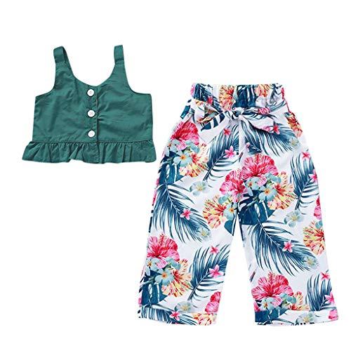 Julhold kleine kinderen baby meisjes mooie riem ruches topdruk boog bloemenprint broek katoen outfits 1-4 jaar