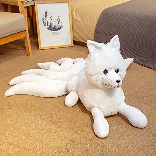 KXCAQ 56-63cm Realista Nueve Colas Fox Peluches Peluche Animal Fox Kitsune Muñecas Regalos creativos para niñas White Red Fox Toys 32x63cm Blanco