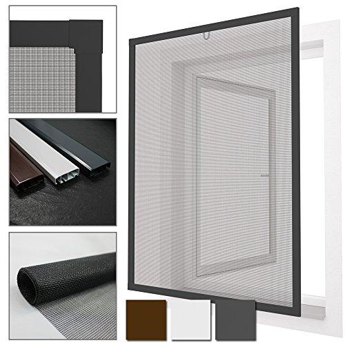 Diluma Insektenschutz Fenster Comfort 100x120 cm mit Alurahmen in Anthrazit - Fliegengitter aus Fiberglas - kürzbarer Spannrahmen ohne Bohren und Schrauben mit Dichtungsbürste
