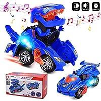 Huadada Dinosaur LED Car Transforming with Light Sound Kids Toy