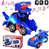 HUADADA Dinosaur Cars Transforming Toys,Transforming Dinosaur LED Car with Light Sound Kids Toy,Dinosaur Cars Combined Into One,Automatic Transformation,2-8 Year Old Boys Girls Toddlers Kids Gift