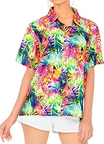 LA LEELA Blusas de Manga Corta Camisa Hawaiana de la Playa botón hacia Arriba el Traje de baño de natación de Varios l