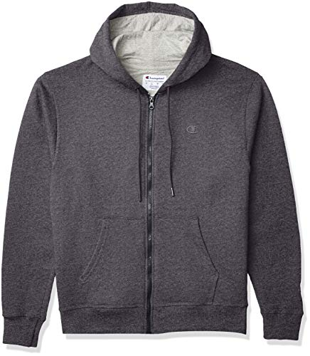 Champion Men's Powerblend Full-Zip Hoodie, Granite Heather, Large