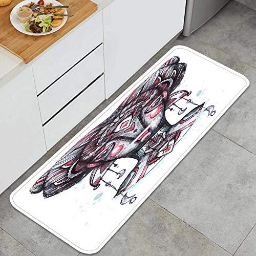 Cocina antideslizante Alfombras de pie Chica de cuento de hadas con cabello largo Ilustración de tinta dibujada a Decoración de piso confortables para el hogar, fregadero, lavandería-120cm x 45cm