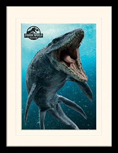 1art1 Jurassic World - El Reino Caído, Mosasaurus Póster De Colección Enmarcado (40 x 30cm)