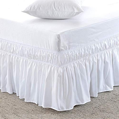 HNTKSM Faldas De La Cama, Falda De Cama Delantal Cama elástica eliminación de Polvo de Hoja de Loto Falda de Cama Color sólido de Arrugas Anti-Fading 38cm Manera clásica (Color : White, Size : Full)