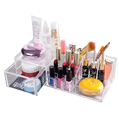 WXI Cosmetic Makeup & Jewelry Organizer | Schminktischhalter aus klarem Acryl | Stapelbare oder freistehende Schubladen inklusive