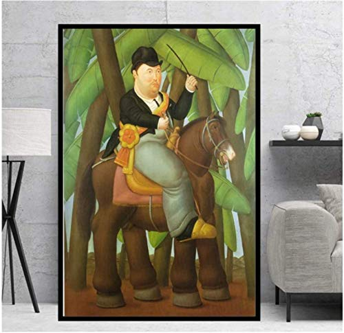 Hombre montado en un caballo de Fernando Botero Art Painting Bailarina Poster Print Canvas Cuadros clásicos Decoración para el hogar (50X75Cm) -20x30 Inch Sin marco
