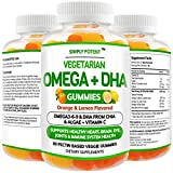 Omega 3 Gummies, Fish Oil Free Vegan Omega 3 6 9 + DHA, Chia Seed & Algae Based Omega 3 Supplement for Men Women & Kids for Brain Heart Joint Eye & Immune Health, 60 Orange & Lemon Flavor Gummies
