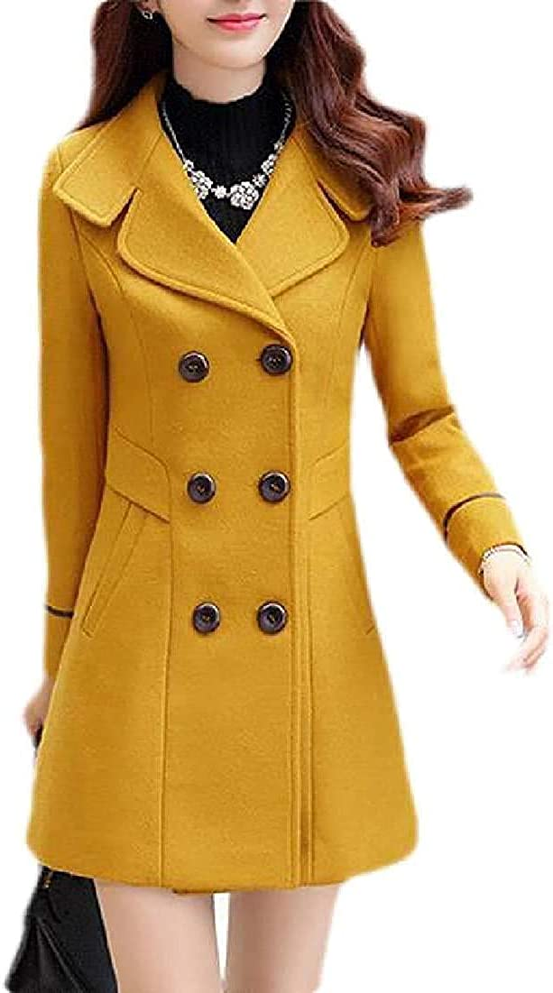 Yhsuk Women Overcoat 2021 new Double-Breasted Slim Fit Longline Woolen Max 80% OFF Pe
