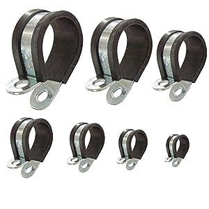 Abrazadera para tubo con perfil de goma P-clips recubiertos para asegurar tuberías cables mangueras: Ø 6mm / banda 15mm, 10 unidades